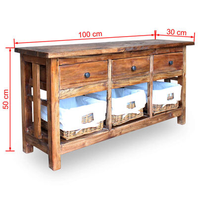 vidaXL tömör újrahasznosított fa tálaló 100 x 30 x 50 cm