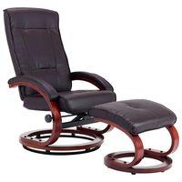 vidaXL barna állítható háttámlás műbőr fotel lábzsámollyal