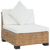 vidaXL természetes színű rattan karfa nélküli fotel párnával