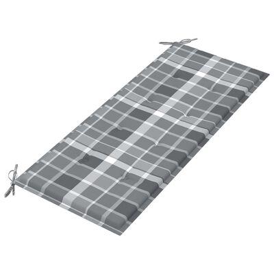 vidaXL tömör tíkfa kerti pad szürke kockás párnával 120 cm