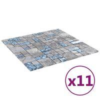 vidaXL 11 db szürke-kék öntapadó üveg mozaikcsempe 30 x 30 cm