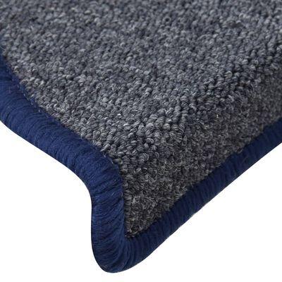 vidaXL 15 db sötétszürke és kék lépcsőszőnyeg 56 x 17 x 3 cm