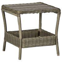 vidaXL barna polyrattan kerti asztal 45 x 45 x 46,5 cm