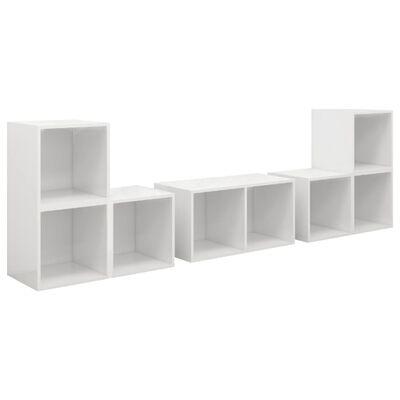 vidaXL 6 részes magasfényű fehér forgácslap TV-szekrényszett