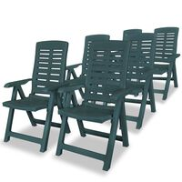 vidaXL 6 db zöld dönthető műanyag kerti szék