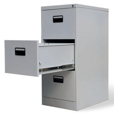 vidaXL szürke háromfiókos acél irattartó szekrény 102,5 cm