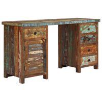 vidaXL újrahasznosított tömör fa fiókos íróasztal 140 x 50 x 77 cm