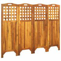 vidaXL 4 paneles tömör akácfa szobaelválasztó 161 x 2 x 120 cm