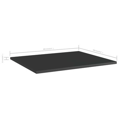 vidaXL 8 db magasfényű fekete forgácslap könyvespolc 60 x 50 x 1,5 cm