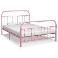 vidaXL rózsaszín fém ágykeret 120 x 200 cm