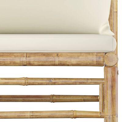 vidaXL 6 részes bambusz kerti bútorszett krémfehér párnákkal
