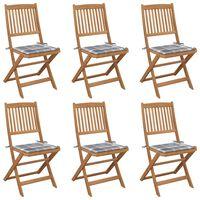 vidaXL 6 db összecsukható tömör akácfa kerti szék párnákkal