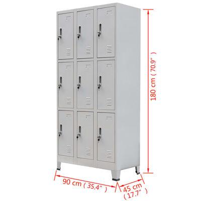 vidaXL szürke 9 rekeszes acél öltözőszekrény 90 x 45 x 180 cm