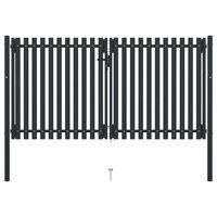 vidaXL antracitszürke kétajtós acél kerítéskapu 306 x 200 cm