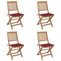 vidaXL 4 db összecsukható tömör akácfa kerti szék párnákkal