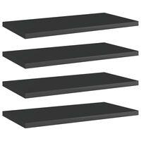 vidaXL 4 db magasfényű fekete forgácslap könyvespolc 40 x 20 x 1,5 cm