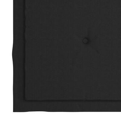 vidaXL tömör tíkfa hintaszék fekete párnával