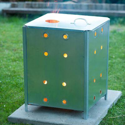 Nature négyzet alakú horganyzott acél kerti hulladékégető 46x46x65 cm