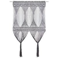 vidaXL antracitszürke makramé pamutfüggöny 140 x 240 cm