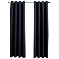 vidaXL 2 db fekete sötétítőfüggöny fémgyűrűkkel 140 x 245 cm