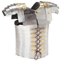 vidaXL ezüstszínű római harcos acél testpáncél LARP másolat