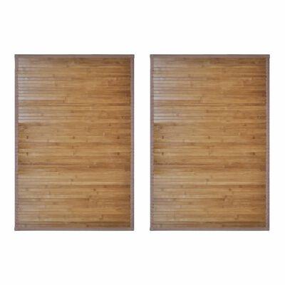 vidaXL 2 db barna bambusz fürdőszobaszőnyeg 60 x 90 cm