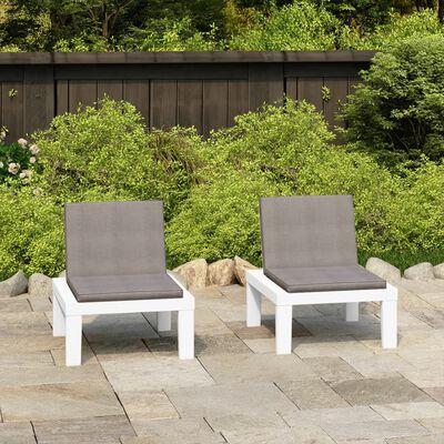 vidaXL 2 db fehér műanyag kerti pihenőszék párnákkal