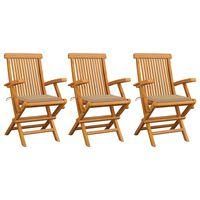 vidaXL 3 db tömör tíkfa kerti szék bézs párnával