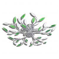 Zöld és Fehér Mennyezeti Lámpa Akril Kristály Levél 5 E14 Izzók