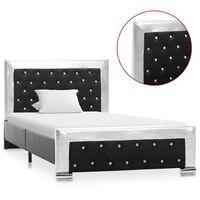vidaXL fekete műbőr ágykeret 100 x 200 cm