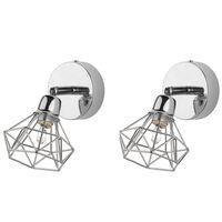 Geometriai Formájú Ezüst Színű Falilámpa Kétdarabos Szettben ERMA