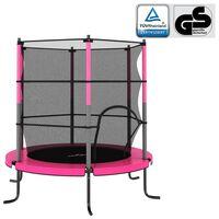 vidaXL kerek rózsaszín trambulin biztonsági hálóval 140 x 160 cm