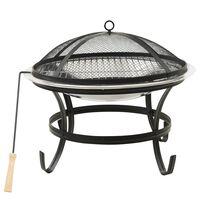vidaXL rozsdamentes acél tűztál és grillező piszkavassal 56x56x49 cm