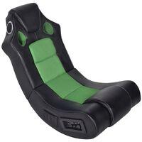 vidaXL fekete és zöld zenélő műbőr hintaszék
