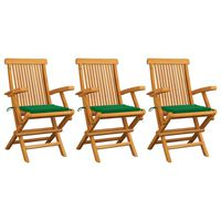 vidaXL 3 db tömör tíkfa kerti szék zöld párnával