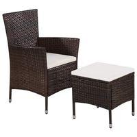 vidaXL barna polyrattan kültéri szék zsámollyal és párnákkal