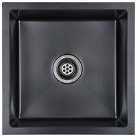 vidaXL fekete kézzel készült rozsdamentes acél mosogató szűrővel