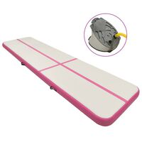 vidaXL rózsaszín PVC felfújható tornamatrac pumpával 600 x 100 x 15 cm