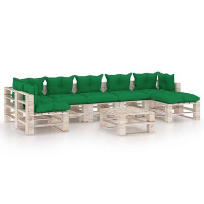 vidaXL 8 részes fenyőfa kerti raklap-bútorgarnitúra párnákkal
