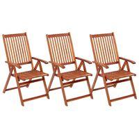 vidaXL 3 db összecsukható tömör akácfa kerti szék