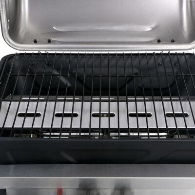vidaXL fekete és ezüst gáz grillező 3 szintes kisasztallal