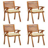 vidaXL 4 db tömör akácfa kerti szék párnákkal