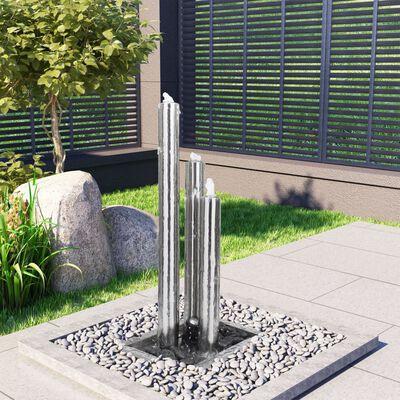 vidaXL ezüstszínű rozsdamentes acél kerti szökőkút 48 x 34 x 88 cm