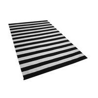 Fekete Fehér Csíkos Kültéri Szőnyeg 140 x 200 cm TAVAS