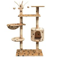 vidaXL bézs macskabútor mancsnyomokkal és szizál kaparófákkal 125 cm