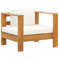 vidaXL krémszínű tömör akácfa kerti szék párnával