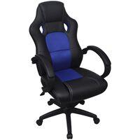 vidaXL vezetői versenyautó műbőr irodai szék kék