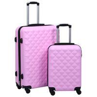 vidaXL 2 db rózsaszín ABS keményfalú gurulós bőrönd