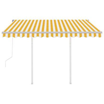 vidaXL sárga és fehér automata napellenző póznákkal 3 x 2,5 m