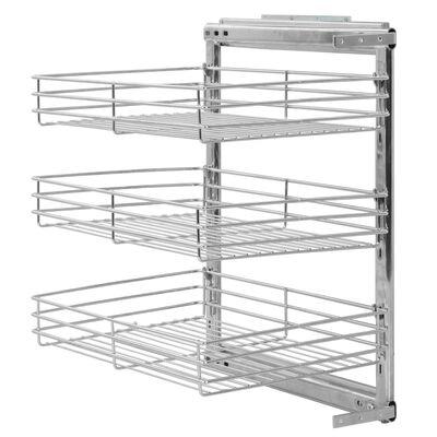 vidaXL ezüstszínű háromszintes kihúzható konyhai drótkosár 47x35x56 cm